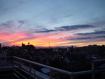 ジムからの夕陽