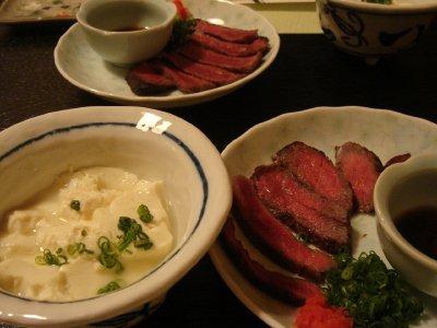 島根牛タタキとおぼろ豆腐