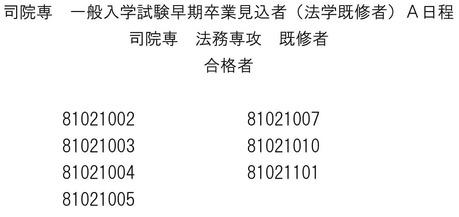 関西学院大ローA日程-1早期卒業見込既修
