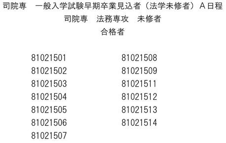 関西学院大ローA日程-2早期卒業見込未修