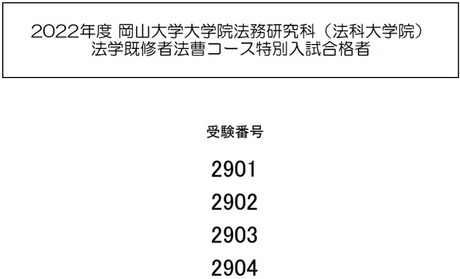 岡山大ロー2022特別入試