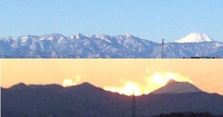 朝の丹沢と富士