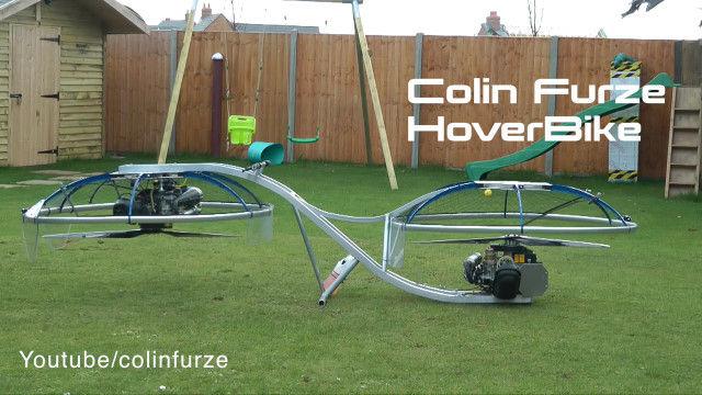 2つのプロペラで宙に浮く!コリン・ファーズ自作の空飛ぶバイク ホバーバイク