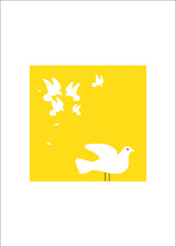 Peace Doves fighting for air space bird illustration