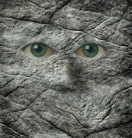 8991981-石と人間の目で作られた顔