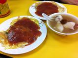 牡蠣のお好み焼と海鮮スープ