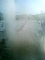 滑走路横の噴水?