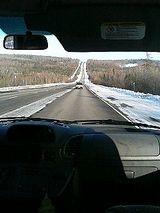 アラスカの直線道路