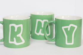 イニシャルマグカップ グリーン おそろいマグカップ