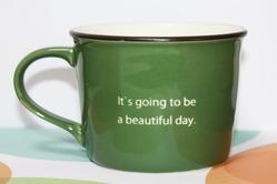 ポップなイニシャルマグカップ メッセージ ゴシック体 グリーン
