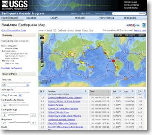 世界のリアルタイム地震マップ