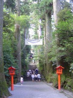 参道と燈篭と階段