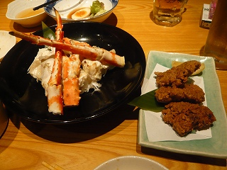 蟹とマグロの竜田揚げ