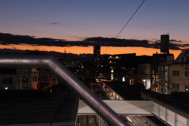 駅からの夕焼け