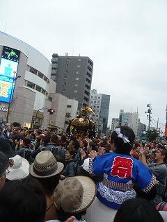 富岡八幡宮例大祭神輿を見る子供