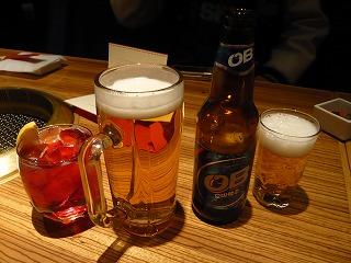 ビールとOBビール