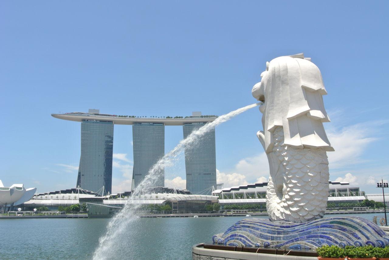 015 手前の像は、シンガポール名物の「マーライオン」です。具体的には、下記のス... シンガポ