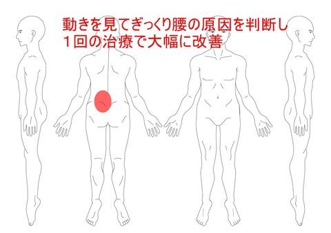 動きを見てぎっくり腰の原因を判断し1回の治療で大幅に改善