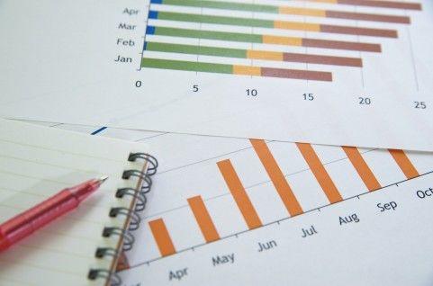 グラフとメモ帳とペン
