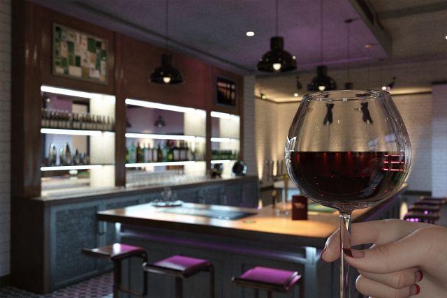 バー(お酒のワイングラスを持つ女性の手)