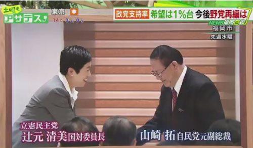 山崎拓氏が辻元清美氏を講師に招き