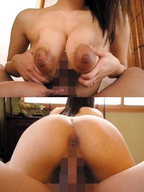 アナルも丸見えwww家庭内裸俗な巨乳奥さんのパイズリセクロスwww