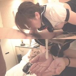 【3次美少女】セーラー服ニーソ娘のディープスロートでネバトロ精液口内射精【個人撮影】