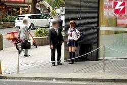 JKお散歩からのホテルで本番!ちっぱい美少女を生オナホピストン!