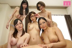 【メガネ巨乳】5人のくびれGカップ家庭教師とハーレムセクロス!