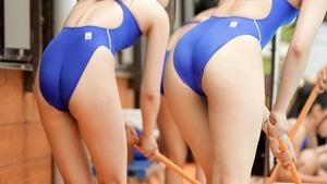 【体育会系ビッチ】可愛くて美尻揃い!水泳部女子とのハーレムセクロスは精液枯れますわw
