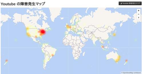 You Tubeの障害発生マップ