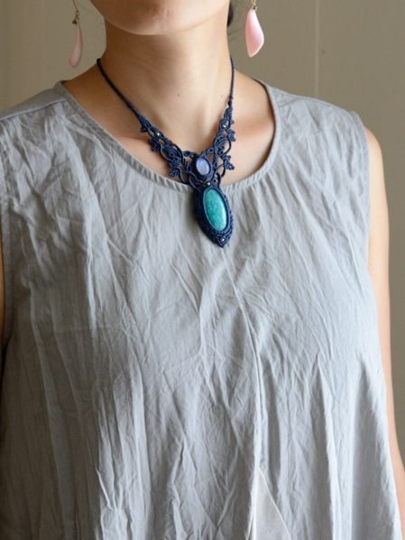 アマゾナイト&ムーンストーン天然石マクラメ編みネックレス