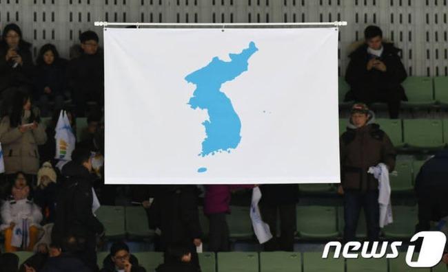 統一旗に竹島が描かれている