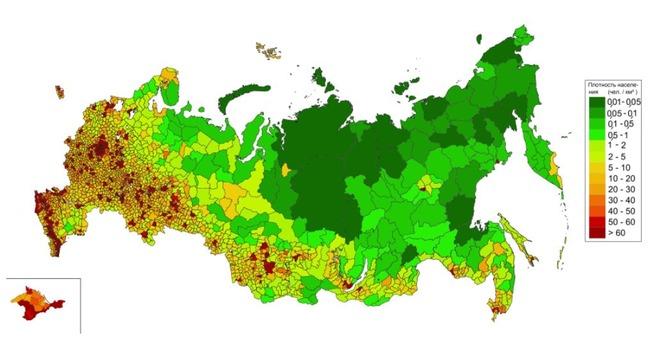 ロシアの人口密度