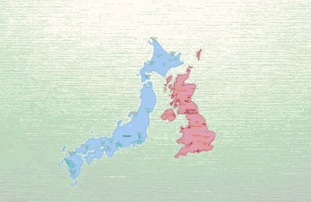 イギリスと日本地図
