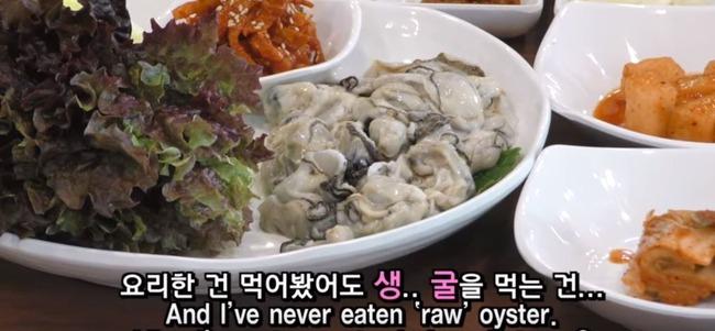 韓国料理の生牡蠣