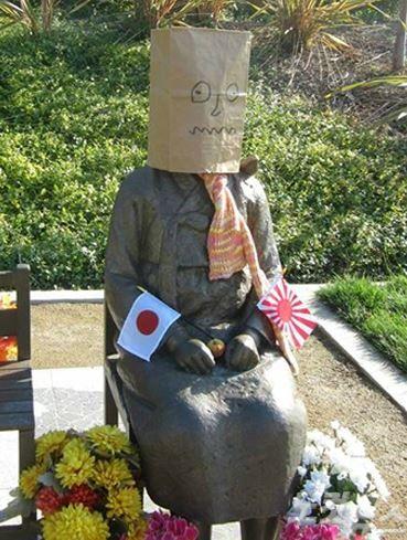 平和の少女像(慰安婦像)に日章旗と旭日旗