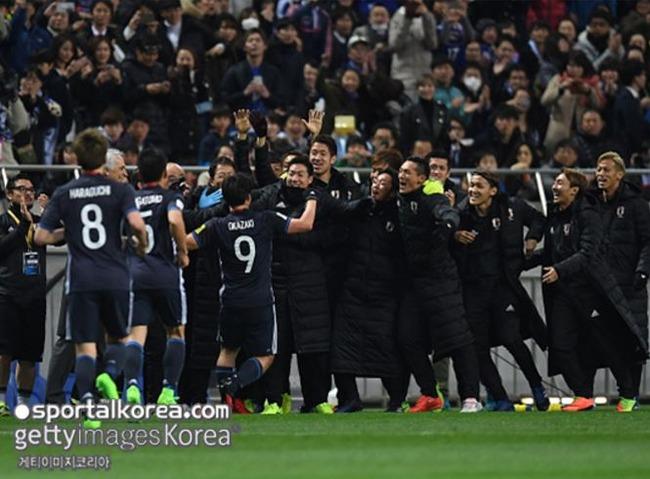勝利を喜ぶサッカー日本代表