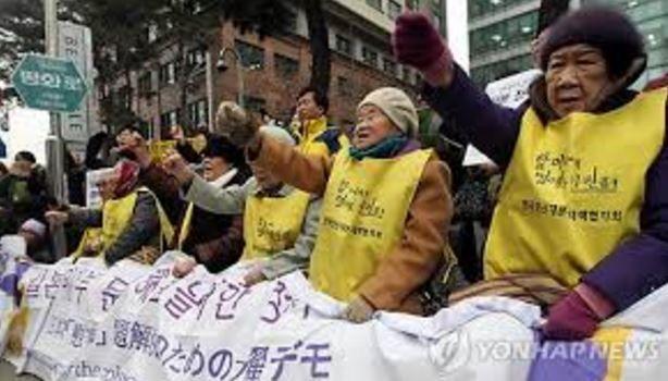 日本に抗議する慰安婦被害者
