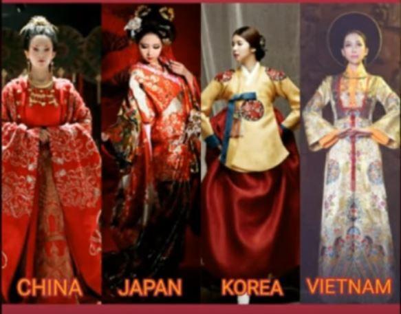 中国、日本、韓国、ベトナムの美しい伝統衣装