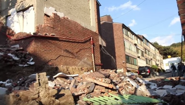 韓国の地震被害
