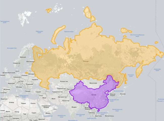 ロシアと中国の国土の比較