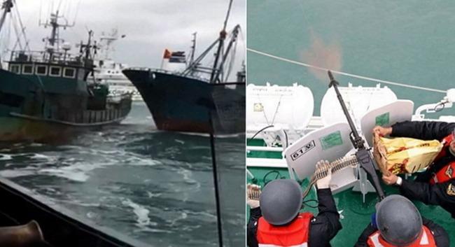 中国の不法操業漁船に射撃をする韓国海警