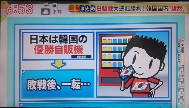 日本は韓国の優勝自販機
