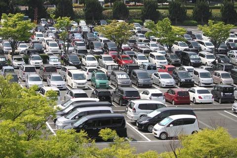 込み合った駐車場 縮小