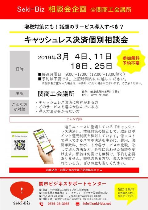 キャッシュレス相談会 チラシ 20190304