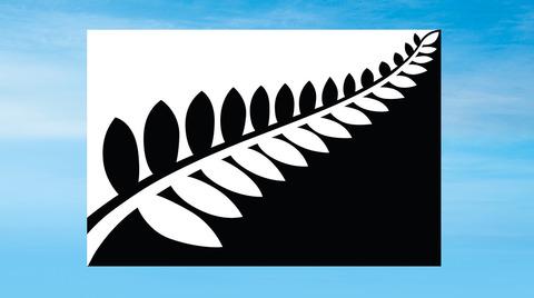 ニュージーランド国旗Black-and-white-fern-flat