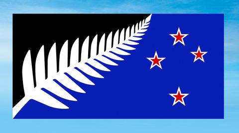 ニュージーランド国旗Silver-fern-black-white-and-blue-flat