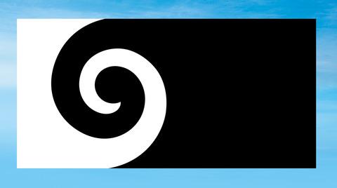 ニュージーランド国旗Koru-black-flat