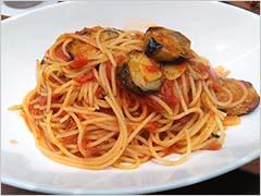 ナス入りアラビアータのスパゲッティ